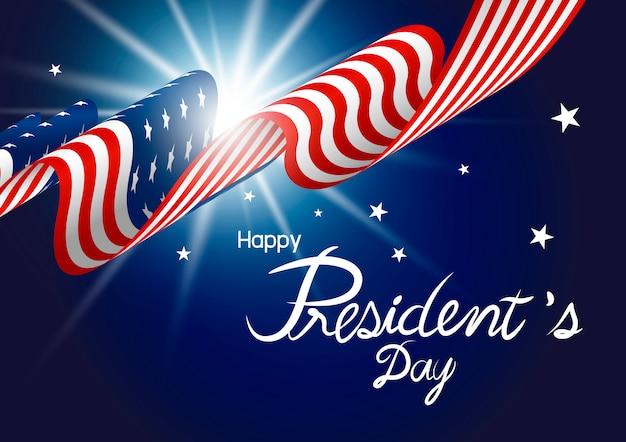 アメリカの国旗の大統領の日デザイン Premiumベクター