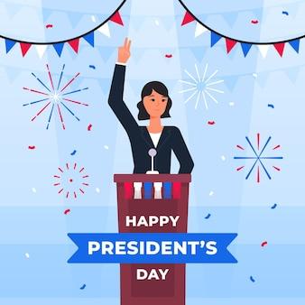Saluto di evento del giorno del presidente con l'illustrazione
