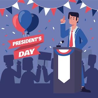 Promo dell'evento del giorno del presidente con l'illustrazione del presidente maschio