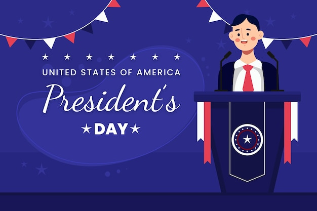 President's day event promo with illustration of man