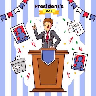 Promo evento del giorno del presidente con illustrazione
