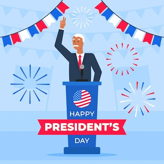 President's day event promo with male president illustrated