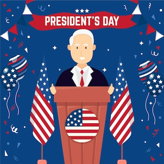 President's day event promo with man illustrated