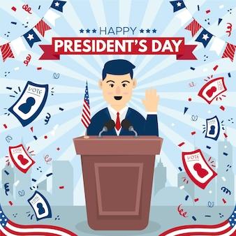 Evento promozionale del giorno del presidente con illustrazione dell'uomo