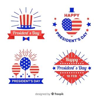 Set di distintivi piatti del giorno del presidente