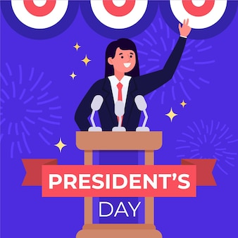 大統領の日のフラットデザインイラスト
