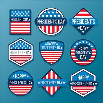 Collezione di etichette per il giorno del presidente