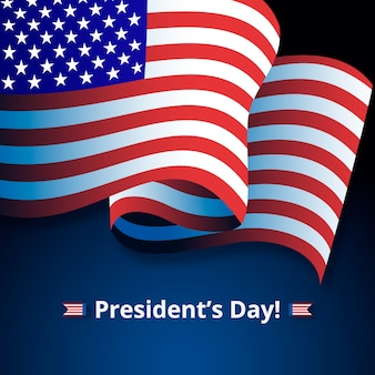President's day lettering with american flag