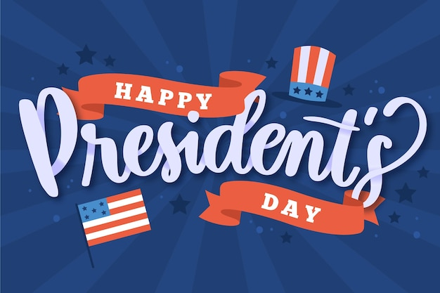 President's day lettering with flag