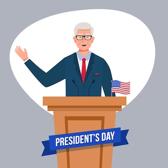 President's day promo with male president illustrated
