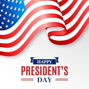 Президентский день реалистичный флаг и надпись