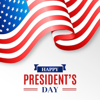 President's day realistic flag and lettering