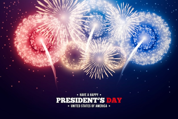 President's day with colorful fireworks