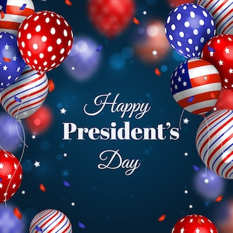 President's day with colorful realistic balloons