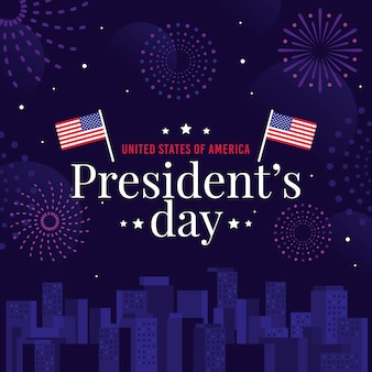 President's day with flags and fireworks