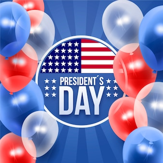 President's day with realistic balloons background
