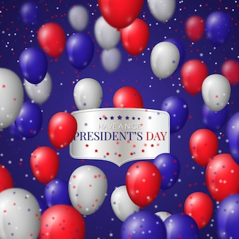 President's day with realistic balloons and colorful confetti