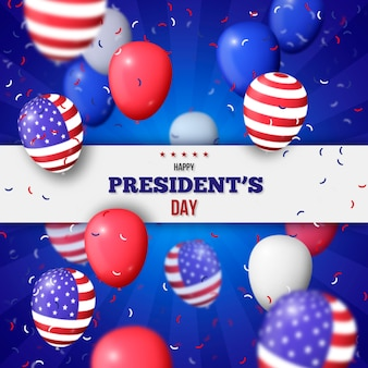 President's day with realistic balloons and confetti
