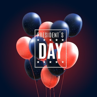 President's day with realistic balloons