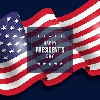 Президентский день с реалистичным фоном флага