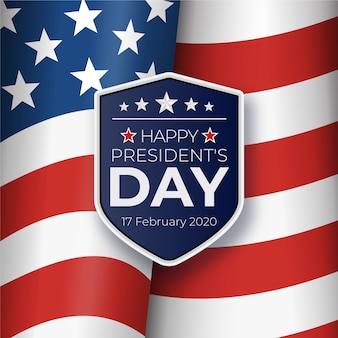 President's day with realistic flag and official badge