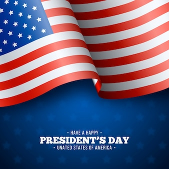 President's day with realistic flag