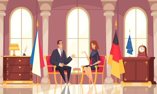 Composizione piatta conversazione presidenziale caffè con trattative interne ufficio con bandiere di stato rappresentative diplomatiche straniere