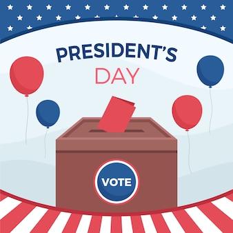 Президентская избирательная композиция в плоском дизайне