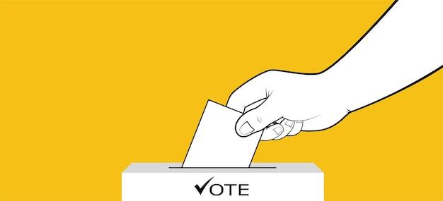 Президентские выборы, рука помещает бюллетень с голосованием в урну для голосования. концепция президентской избирательной кампании.