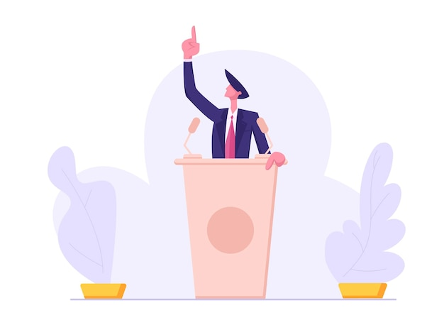 Presidential election. man in suit standing behind of podium illustration