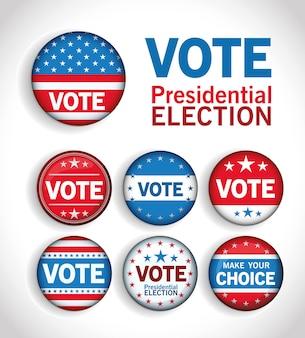 Кнопки голосования на президентских выборах в сша со звездами установили дизайн, правительство и тему кампании