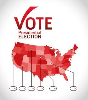 체크 표시지도 및 인포 그래픽 디자인, 정부 및 캠페인 주제가있는 대통령 선거 투표