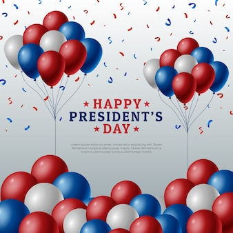 Presidents day concept with realistic balloons