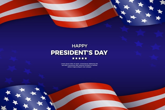 Presidents day concept with realistic flag
