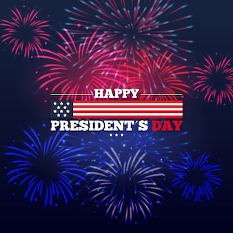 Presidents day event celebration with fireworks theme