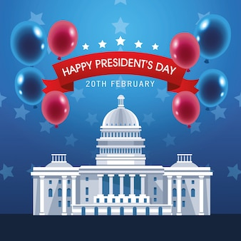 Presidents day poster with usa capitol and balloons helium