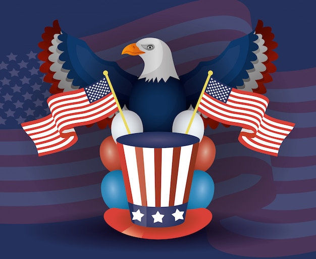 Presidents day poster with usa tophat and eagle