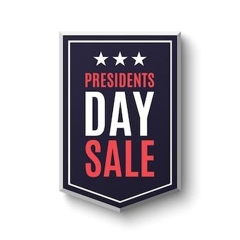 大統領の日セールバナー、白い背景で隔離。