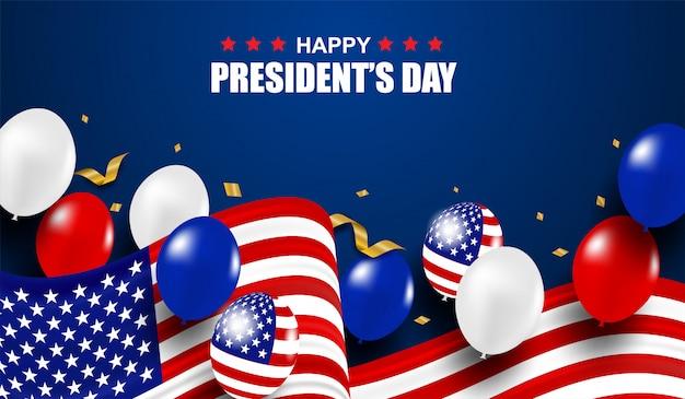 アメリカ大統領の日。バックグラウンド。風船、アメリカ国旗、金の紙吹雪でデザインします。
