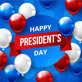 Presidents day with realistic balloons design