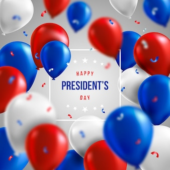 Presidents day with realistic balloons and greeting