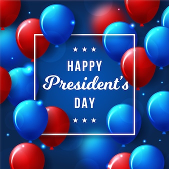 Presidents day with realistic balloons theme