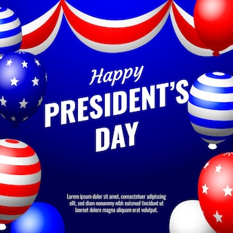Presidents day with realistic balloons
