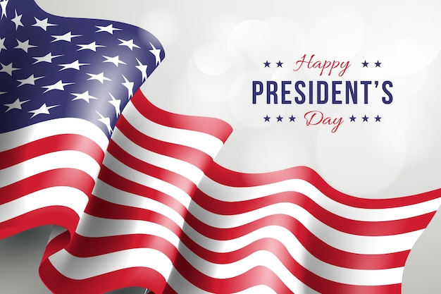 Presidents day with realistic flag and greeting