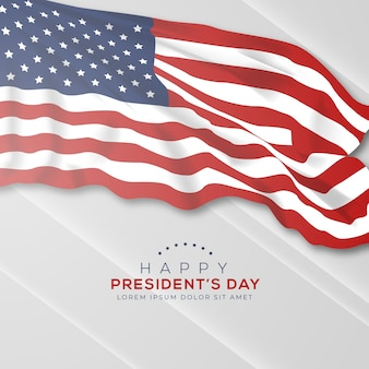 Presidents day with realistic flag