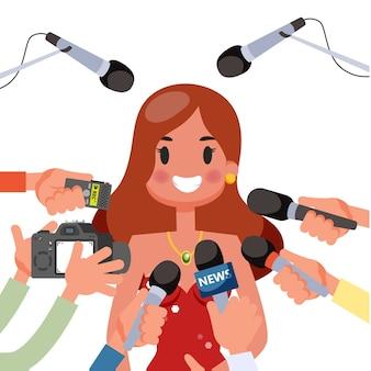 記者会見のコンセプトです。マイクを持ったジャーナリスト