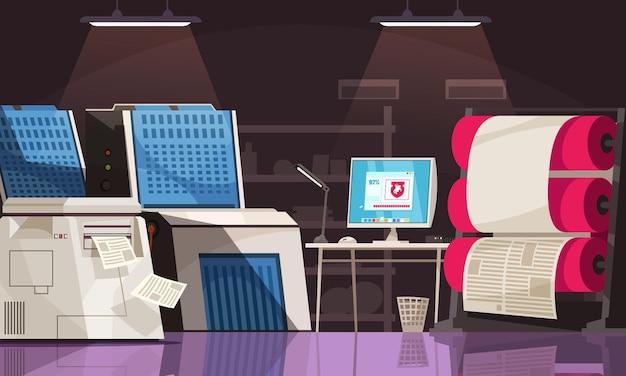 Attrezzature per la stampa e scrivania con computer in tipografia