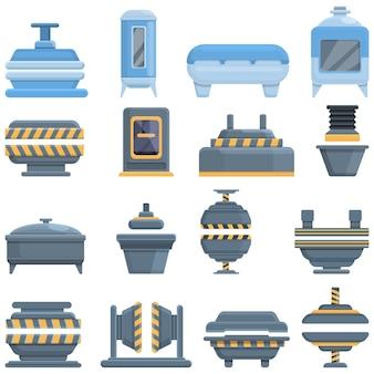 Набор иконок машины пресс-формы. мультяшный набор иконок для пресс-форм