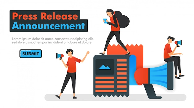 Press release announcement vector illustration