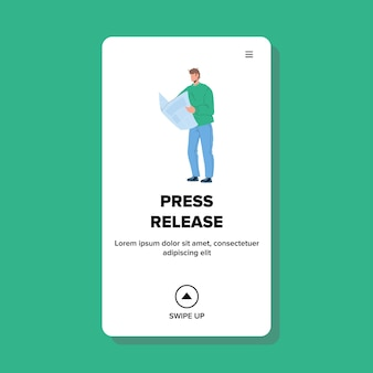 Press release article reading young man vector. press release important information or announcement publication read businessman in newspaper. character boy web flat cartoon illustration